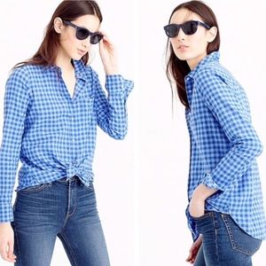 J Crew Boyshirt in Two Tone Blue Gingham